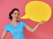 Женщина с речью шаржа Стоковое фото RF