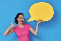 Женщина с речью шаржа Стоковое Изображение
