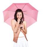 Женщина с розовым зонтиком Стоковое Фото