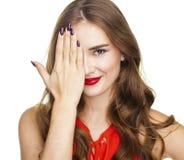 женщина с ручкой Красивейшая женщина брюнет Стоковые Изображения RF
