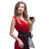 Женщина с рюмкой Стоковые Фото