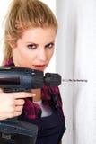 Женщина с сверлом Стоковая Фотография RF
