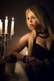 Женщина с свечами Стоковые Фотографии RF