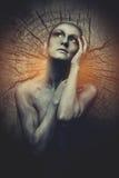 Женщина с серым тел-искусством Стоковые Фотографии RF