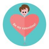 Женщина с сердцем на предпосылке голубого круга Плоский значок Валентайн дня счастливое s Стоковое Изображение
