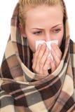 Женщина с симптомы холодные стоковые изображения