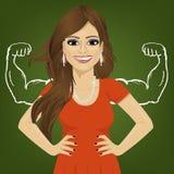 Женщина с сильной рукой muscles положение с руками на бедрах Реальность против концепции принятия желаемого за действительное гон иллюстрация вектора