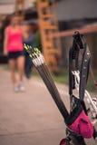 Женщина с смычком Стоковая Фотография RF