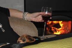 Женщина с собакой в ее подоле держа стекло красного вина перед деревянным камином - селективного фокуса стоковые фото