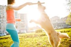 Женщина с собакой и ручкой Стоковое фото RF