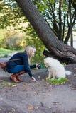 Женщина с собакой Стоковые Фотографии RF