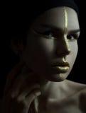 Женщина с составом золота Стоковая Фотография RF