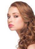Женщина с составом и стилем причёсок стоковое изображение rf