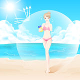 Женщина с солнцезащитным кремом Стоковые Фото