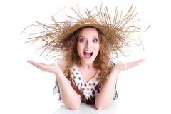 Женщина с соломенной шляпой - женщина лета изолированная на белой предпосылке Стоковое Фото
