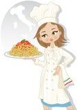 Женщина с спагетти Стоковые Изображения RF