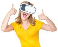 Женщина с стеклами VR Стоковая Фотография RF