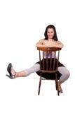 Женщина с стулом Стоковое Фото