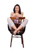 Женщина с стулом Стоковые Изображения