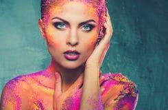 Женщина с схематическим искусством тела Стоковая Фотография