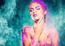 Женщина с схематическим искусством тела Стоковое Фото