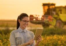 Женщина с таблеткой и жаткой зернокомбайна Стоковая Фотография RF