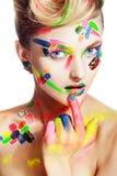 Женщина с творческим составляет стоковая фотография rf