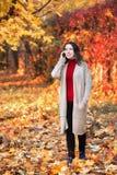 Женщина с телефоном в парке осени Стоковые Фотографии RF