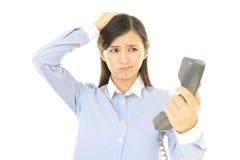 Женщина с телефоном Стоковая Фотография