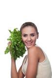 Женщина с травами пачки (salat) Стоковое Изображение