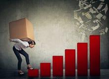 Женщина с тяжелой коробкой на ей назад взбираясь вверх финансовая лестница успеха стоковые изображения