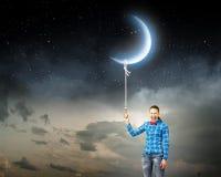 Женщина с луной Стоковая Фотография RF