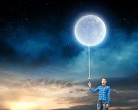 Женщина с луной Стоковые Фотографии RF