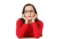 Женщина с унылым выражением Стоковое фото RF