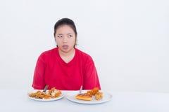 Женщина с фаст-фудом Стоковые Фотографии RF