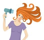 Женщина с феном для волос. иллюстрация штока