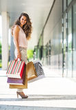 Женщина с хозяйственными сумками на переулке мола Стоковое Изображение