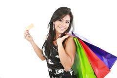 Женщина с хозяйственными сумками Стоковые Изображения