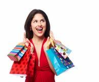 Женщина с хозяйственными сумками Стоковые Фото