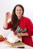 Женщина с хорошей едой стоковые изображения
