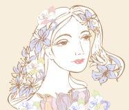 Женщина с цветками иллюстрация штока
