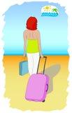 Женщина с чемоданом Стоковые Фотографии RF