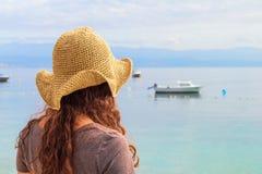 Женщина с шлемом Стоковые Фото