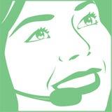 Женщина с шлемофоном Стоковое Изображение