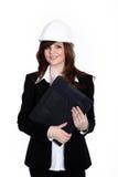Женщина с шлемом конструкции Стоковое Изображение