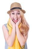 Женщина с шляпой Стоковое Фото