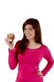 Женщина с яблоком Стоковое Изображение