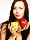 Женщина с яблоками Стоковое фото RF