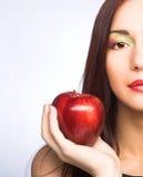 Женщина с яблоками Стоковое Фото