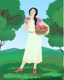 Женщина с яблоками стоковые изображения